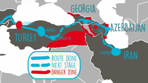 Traçar l'itinerari de Turquia a l'Iran